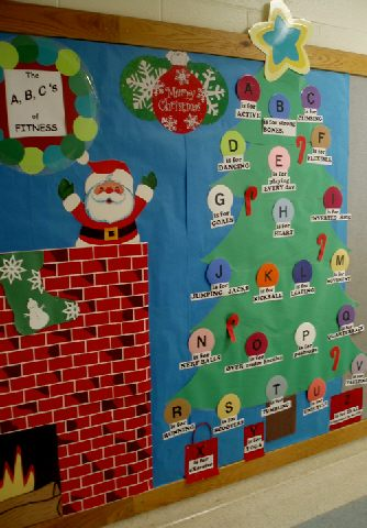 Christmas Tree Display Board.Pec Bulletin Boards For Physical Education