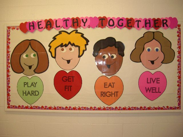 """Now here's a bulletin board with a healthy Valentine """"kiss!"""""""