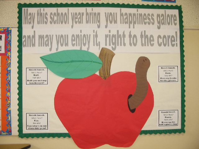 Bulletin board ideas for preschool back to school for Apple tree classroom decoration