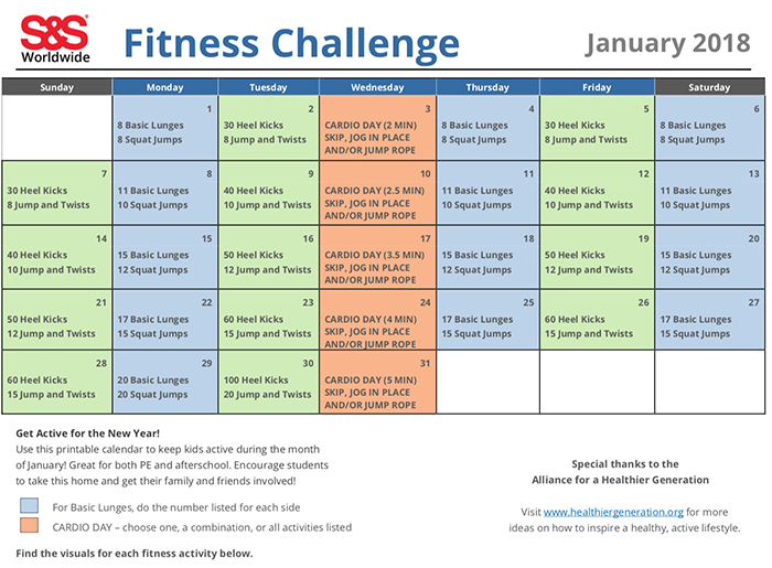 Calendar Monthly January : Physical education fitness calendars from pe central the