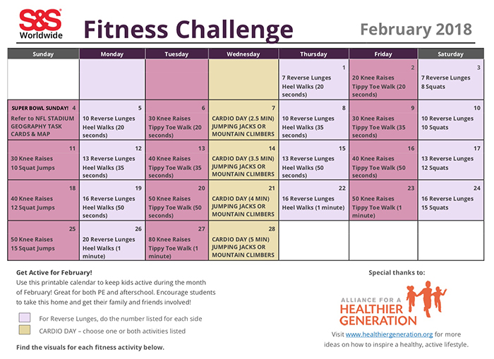 physical education fitness calendars from pe central  the